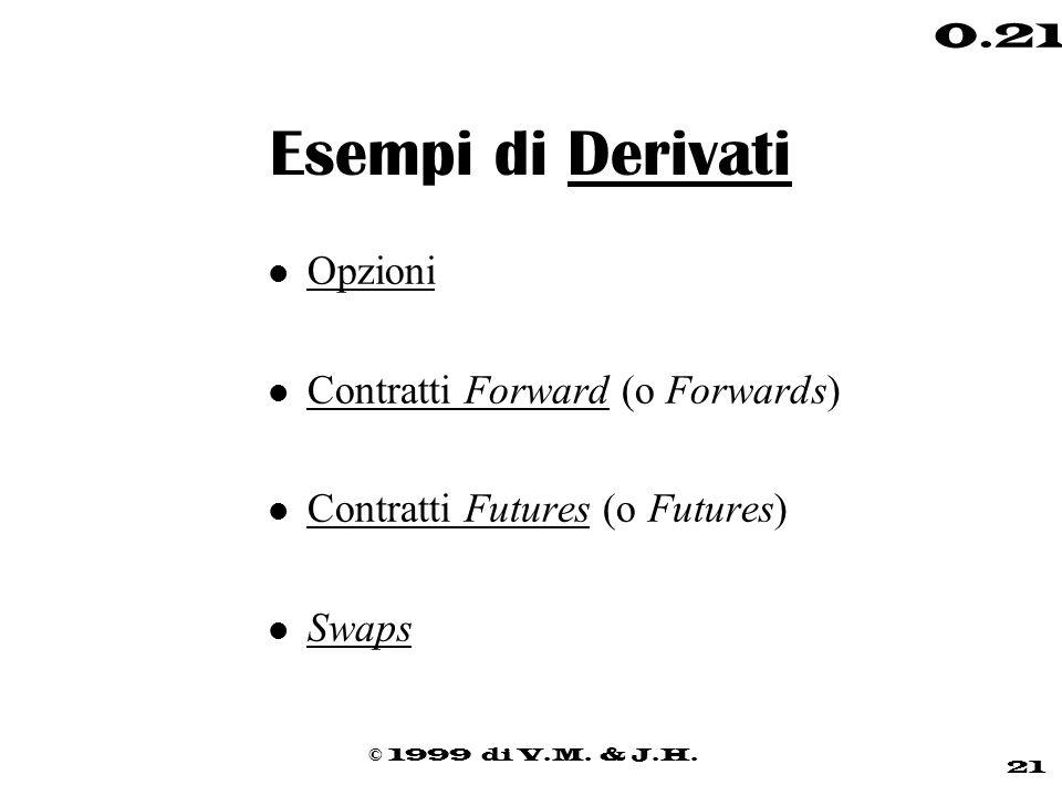 Esempi di Derivati Opzioni Contratti Forward (o Forwards)