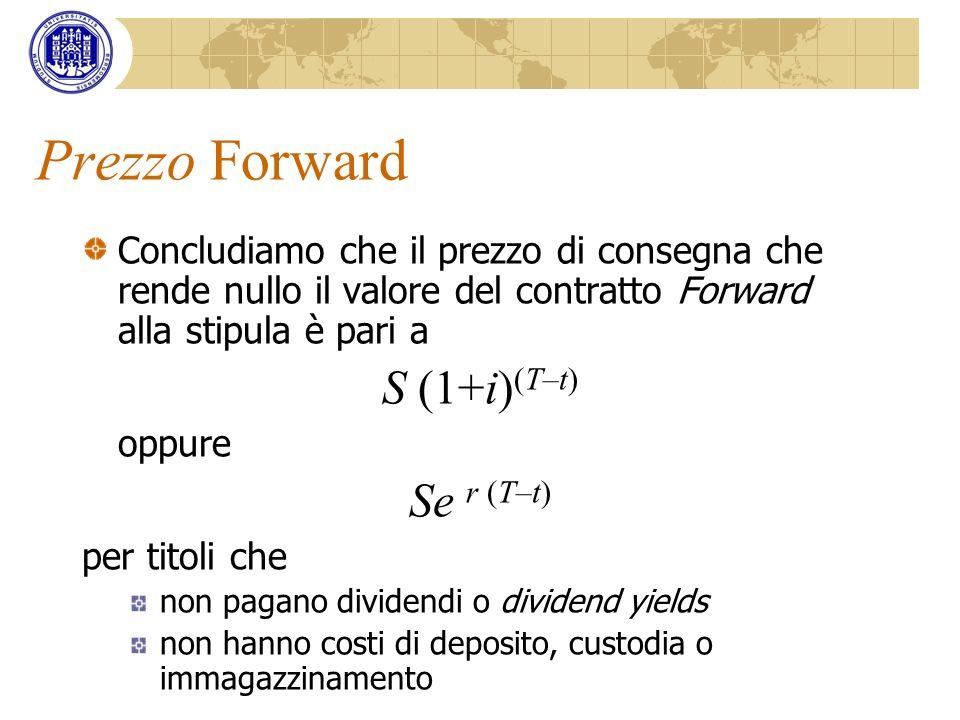 Prezzo Forward S (1+i)(T–t) Se r (T–t)