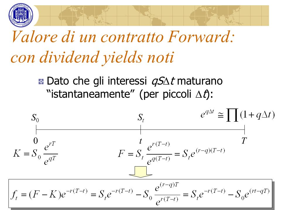 Valore di un contratto Forward: con dividend yields noti