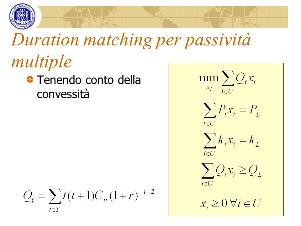 Duration matching per passività multiple