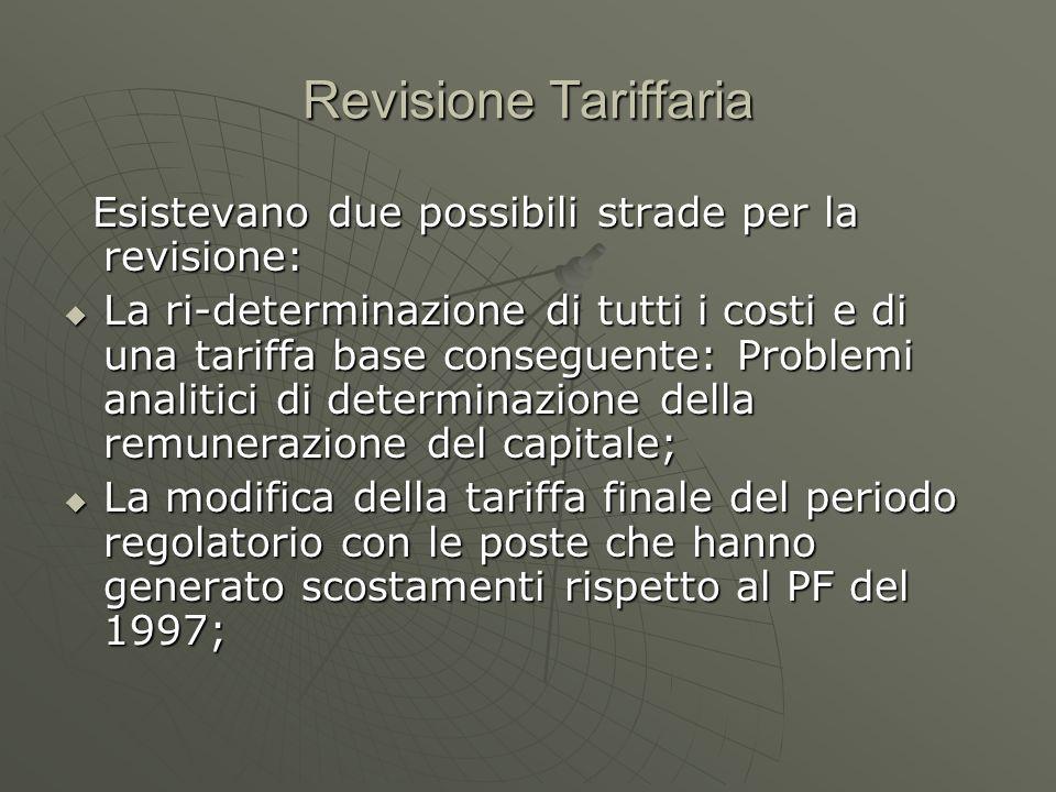 Revisione Tariffaria Esistevano due possibili strade per la revisione: