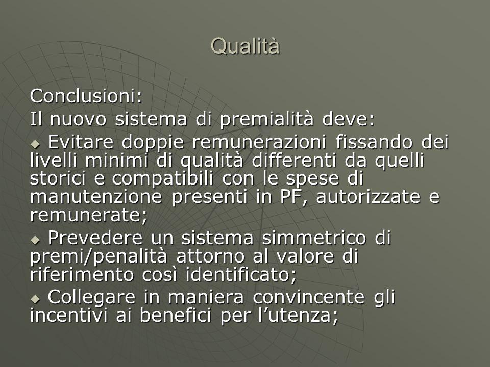 Qualità Conclusioni: Il nuovo sistema di premialità deve: