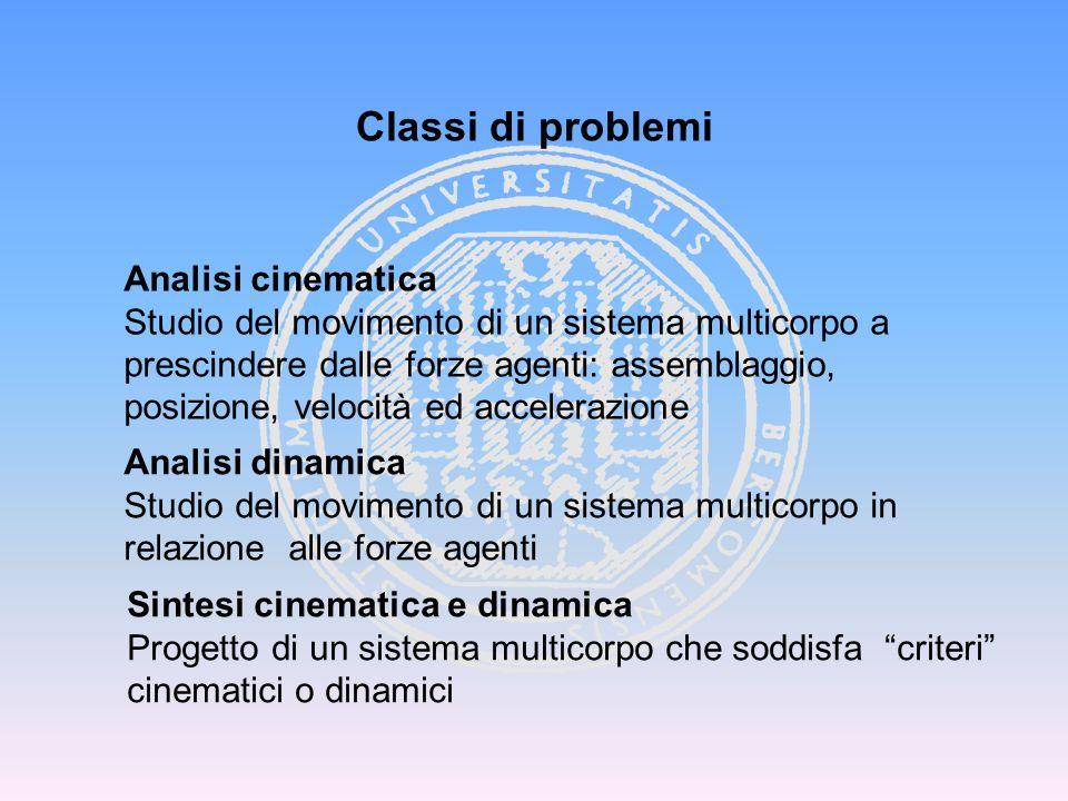 Classi di problemi Analisi cinematica