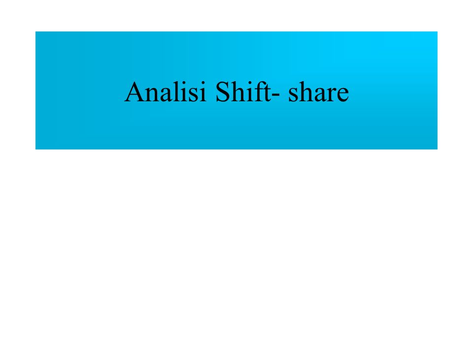 Analisi Shift- share