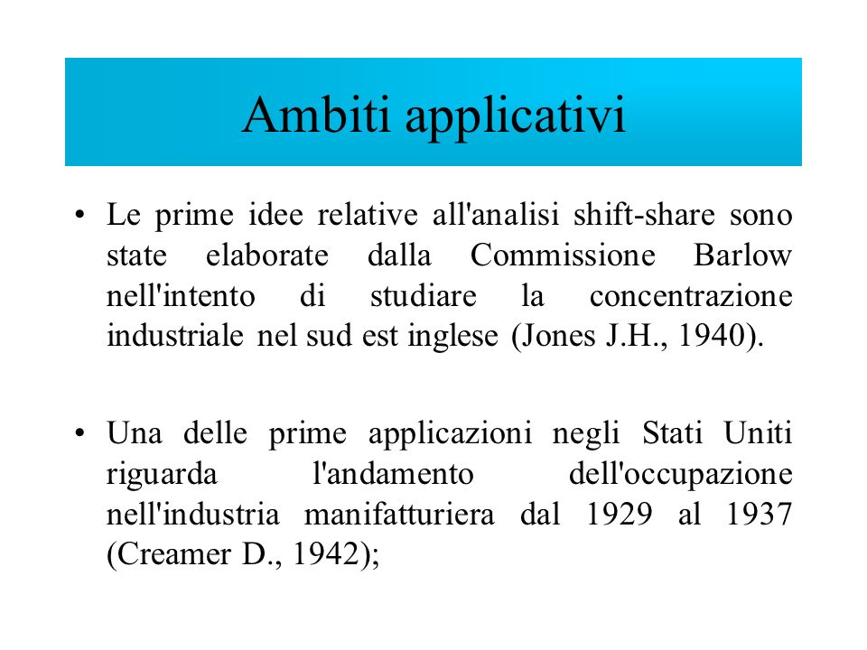 Ambiti applicativi