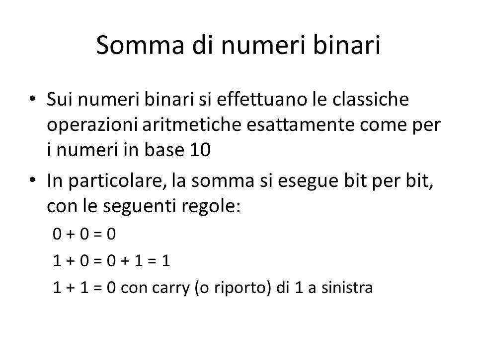 Somma di numeri binari Sui numeri binari si effettuano le classiche operazioni aritmetiche esattamente come per i numeri in base 10.