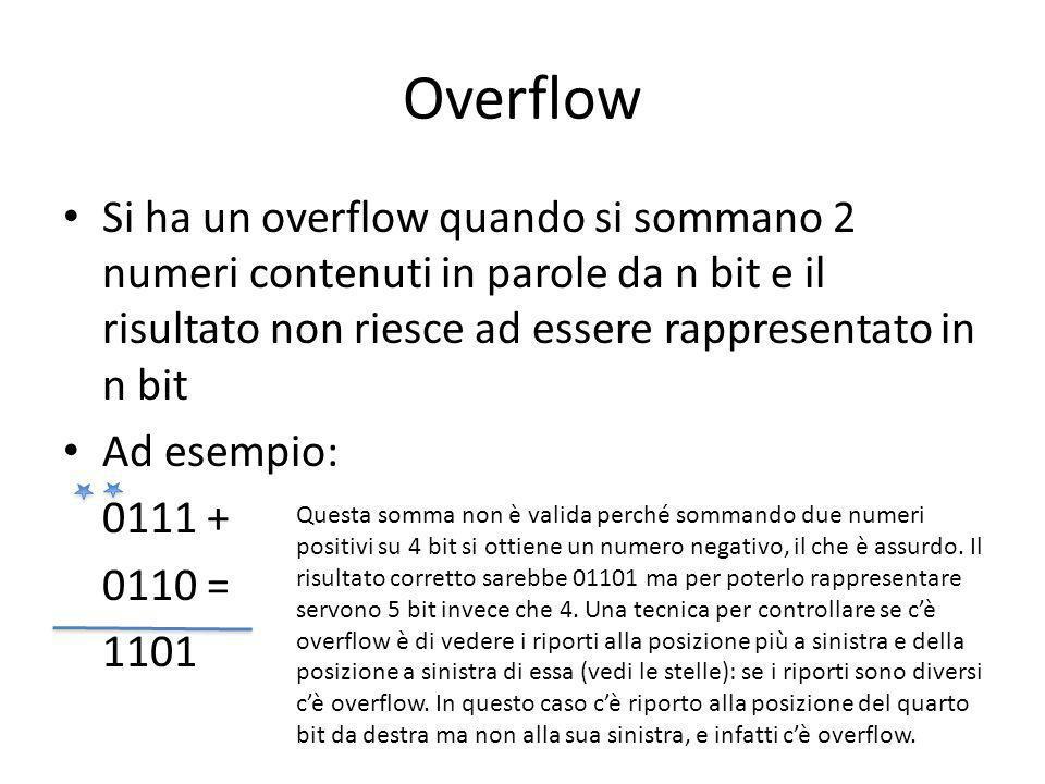 Overflow Si ha un overflow quando si sommano 2 numeri contenuti in parole da n bit e il risultato non riesce ad essere rappresentato in n bit.