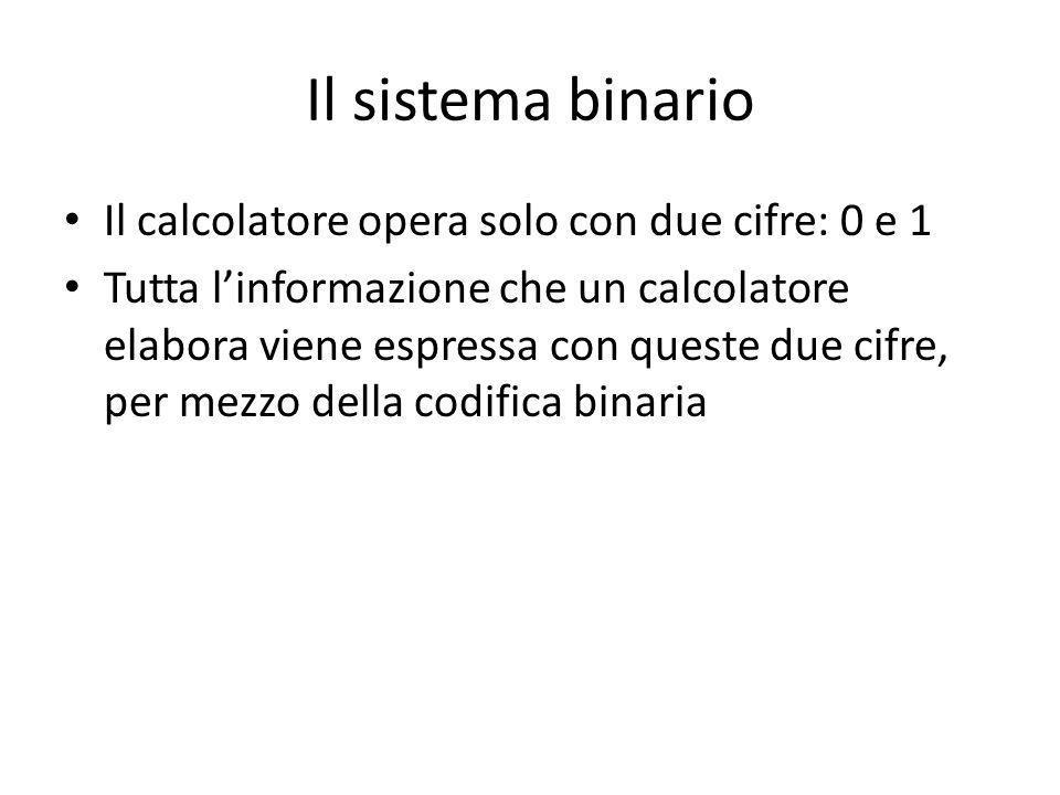 Il sistema binario Il calcolatore opera solo con due cifre: 0 e 1