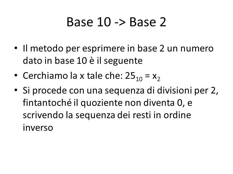 Base 10 -> Base 2 Il metodo per esprimere in base 2 un numero dato in base 10 è il seguente. Cerchiamo la x tale che: 2510 = x2.