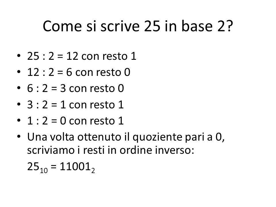 Come si scrive 25 in base 2 25 : 2 = 12 con resto 1
