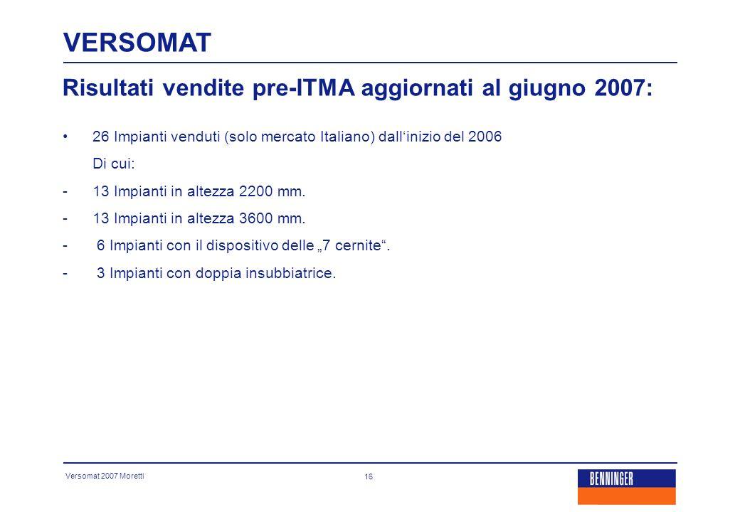 VERSOMAT Risultati vendite pre-ITMA aggiornati al giugno 2007: