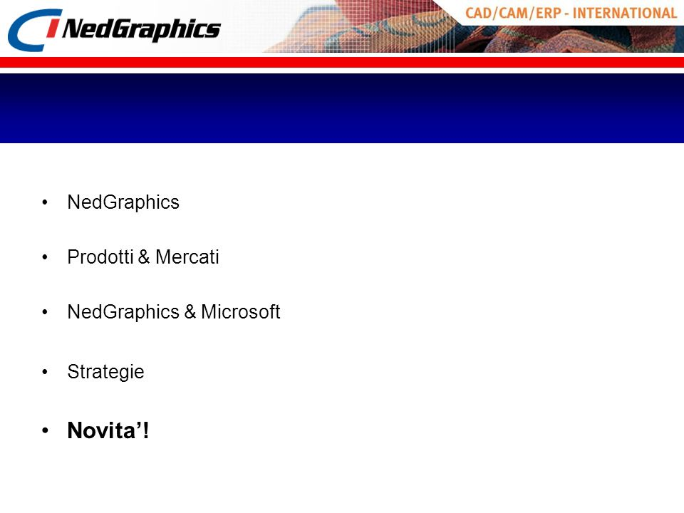 Novita'! NedGraphics Prodotti & Mercati NedGraphics & Microsoft