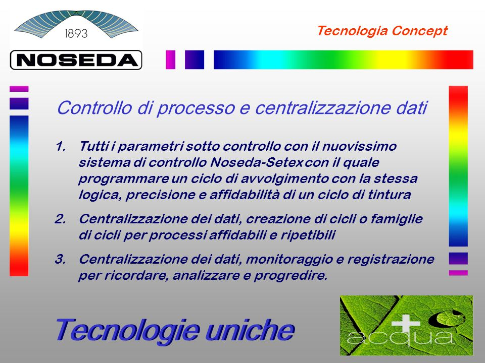 Tecnologie uniche Controllo di processo e centralizzazione dati