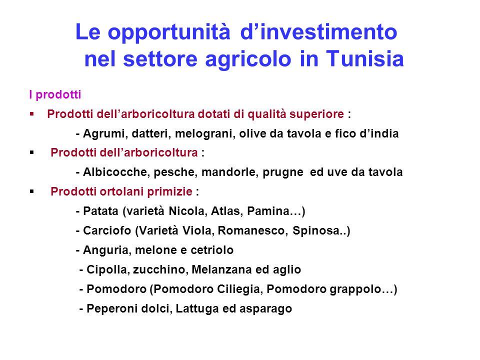 Le opportunità d'investimento nel settore agricolo in Tunisia