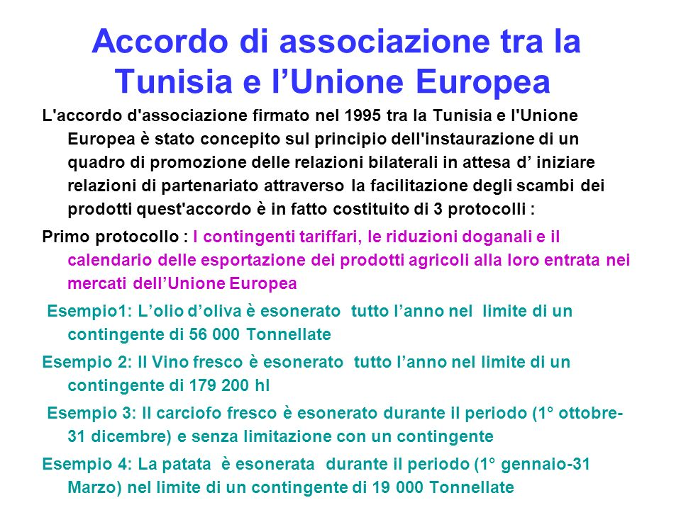 Accordo di associazione tra la Tunisia e l'Unione Europea