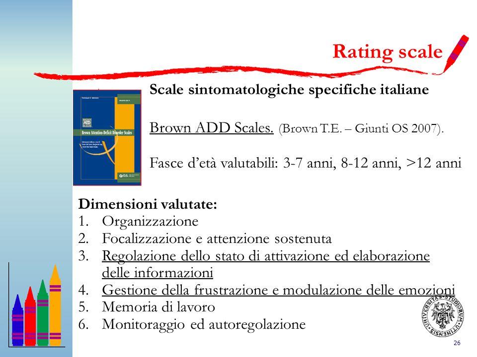 Rating scale Scale sintomatologiche specifiche italiane
