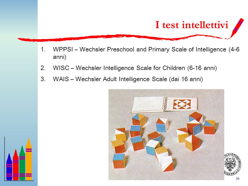 I test intellettiviWPPSI – Wechsler Preschool and Primary Scale of Intelligence (4-6 anni)
