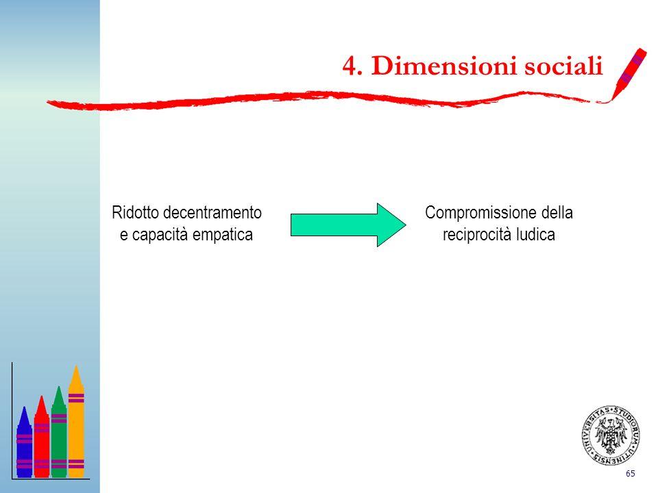 4. Dimensioni sociali Ridotto decentramento e capacità empatica