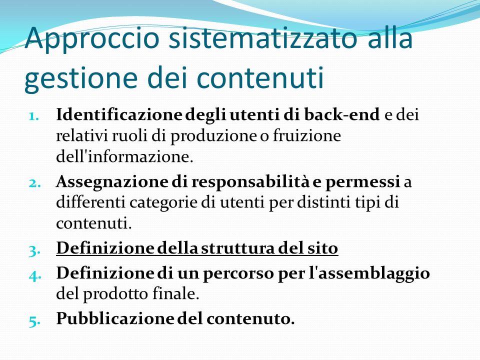 Approccio sistematizzato alla gestione dei contenuti