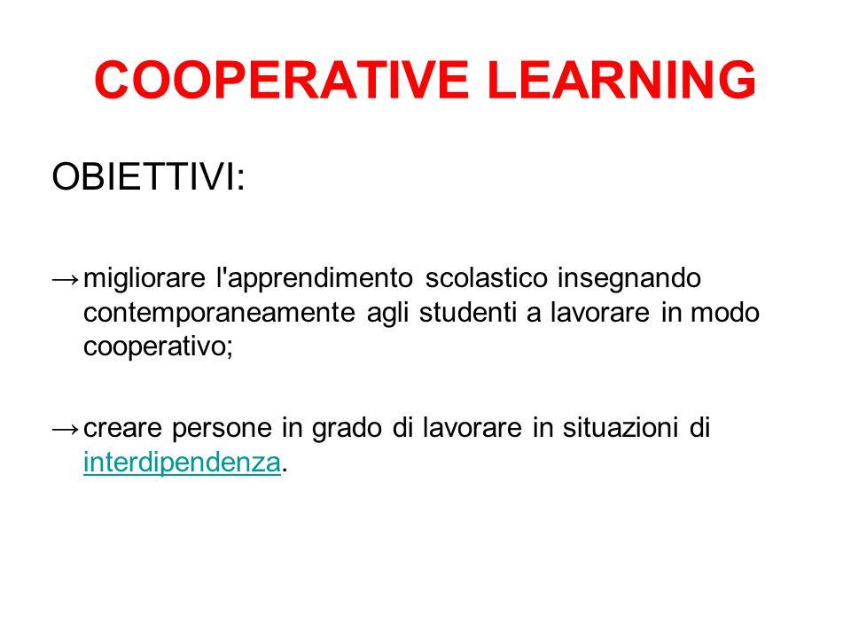 COOPERATIVE LEARNING OBIETTIVI:
