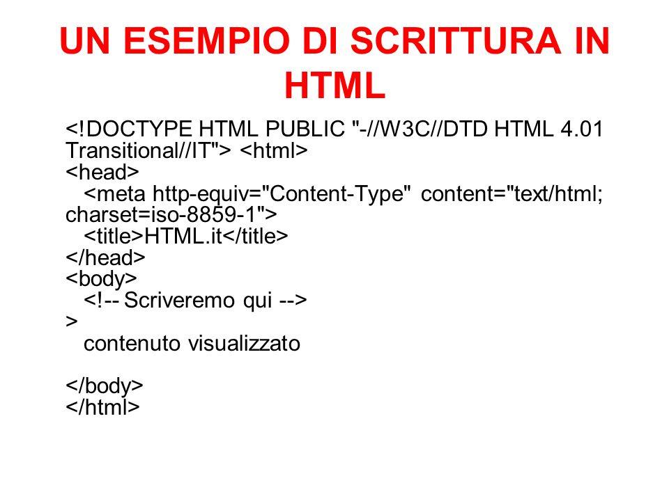 UN ESEMPIO DI SCRITTURA IN HTML