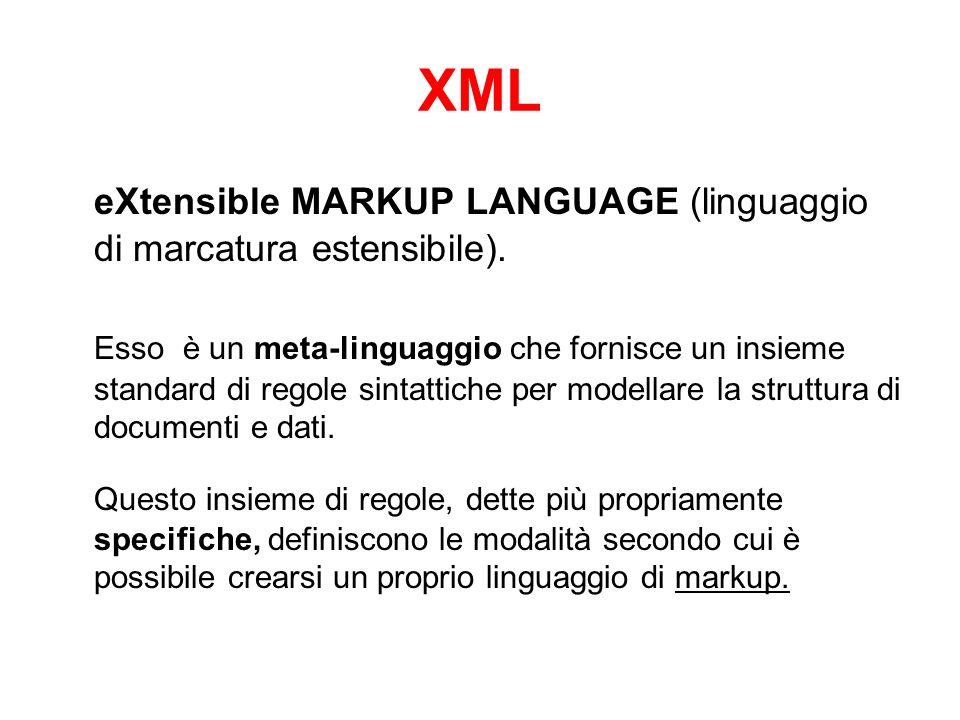 XML eXtensible MARKUP LANGUAGE (linguaggio di marcatura estensibile).