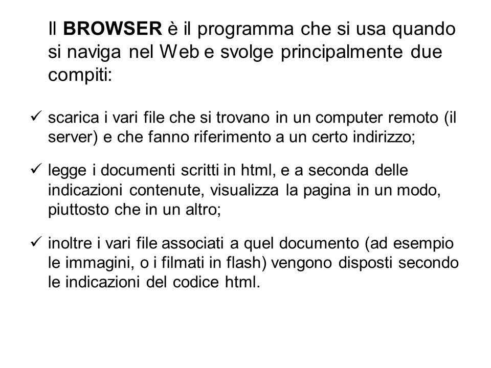Il BROWSER è il programma che si usa quando si naviga nel Web e svolge principalmente due compiti:
