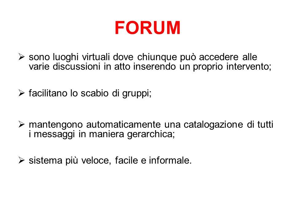 FORUMsono luoghi virtuali dove chiunque può accedere alle varie discussioni in atto inserendo un proprio intervento;
