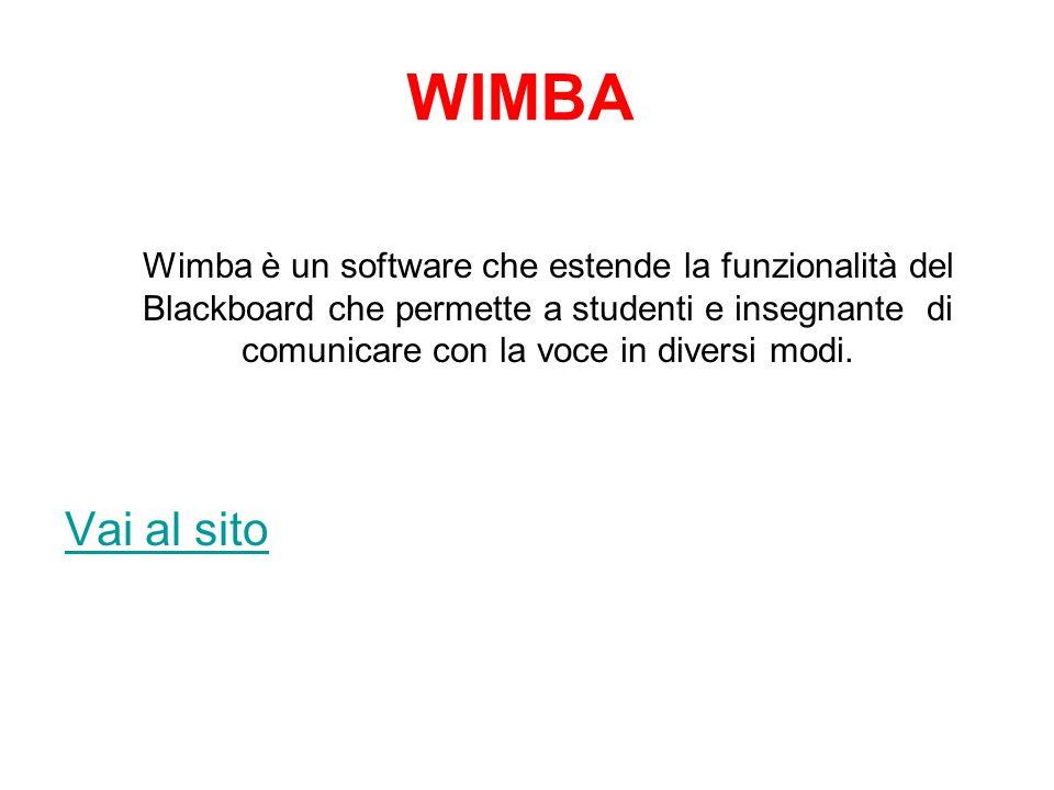 WIMBA Wimba è un software che estende la funzionalità del Blackboard che permette a studenti e insegnante di comunicare con la voce in diversi modi.