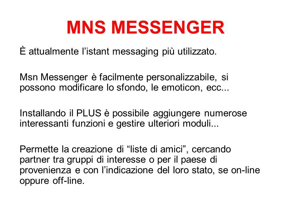 MNS MESSENGER È attualmente l'istant messaging più utilizzato.