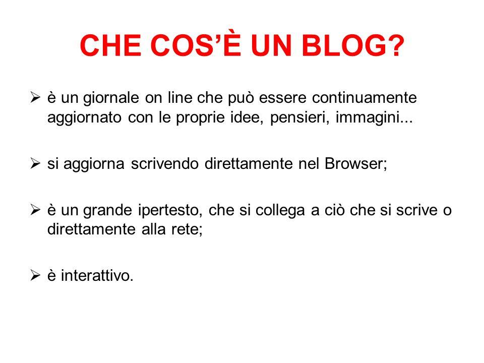 CHE COS'È UN BLOG è un giornale on line che può essere continuamente aggiornato con le proprie idee, pensieri, immagini...