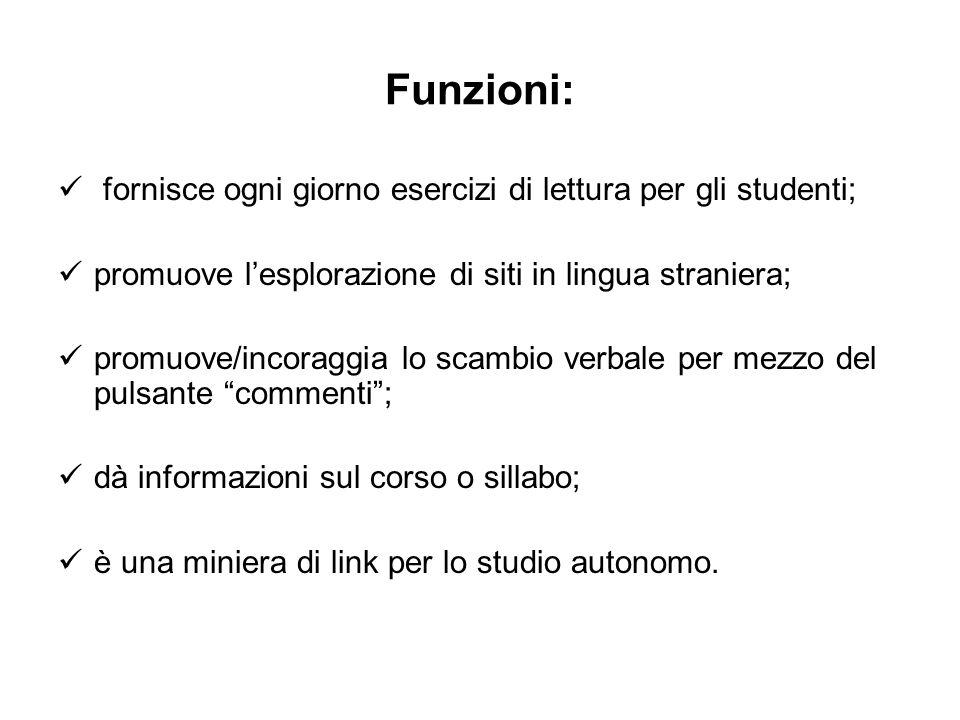 Funzioni: fornisce ogni giorno esercizi di lettura per gli studenti;