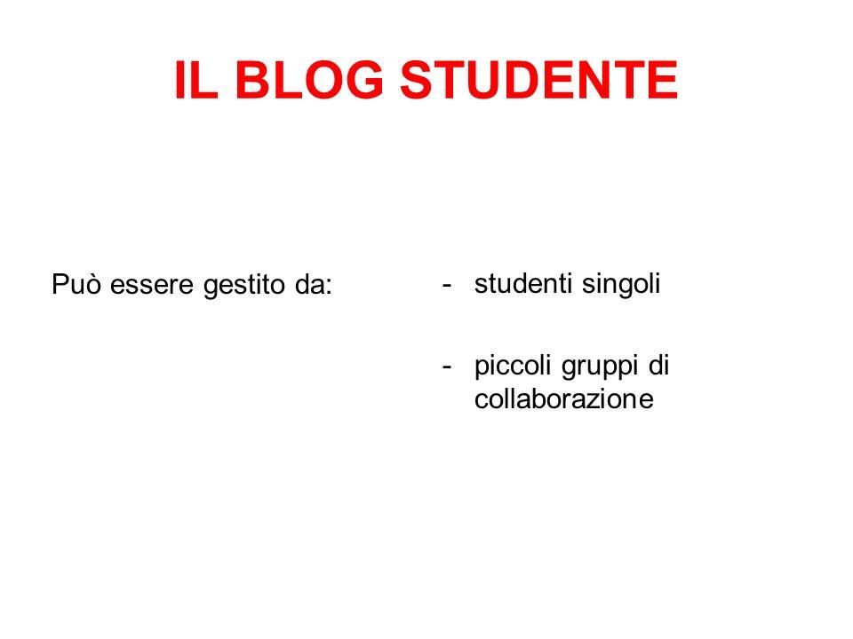 IL BLOG STUDENTE Può essere gestito da: studenti singoli