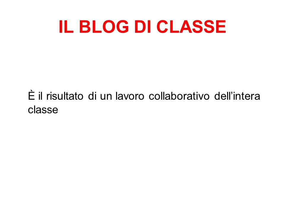 IL BLOG DI CLASSE È il risultato di un lavoro collaborativo dell'intera classe