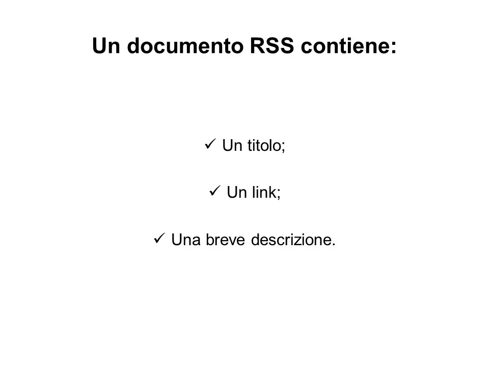 Un documento RSS contiene: