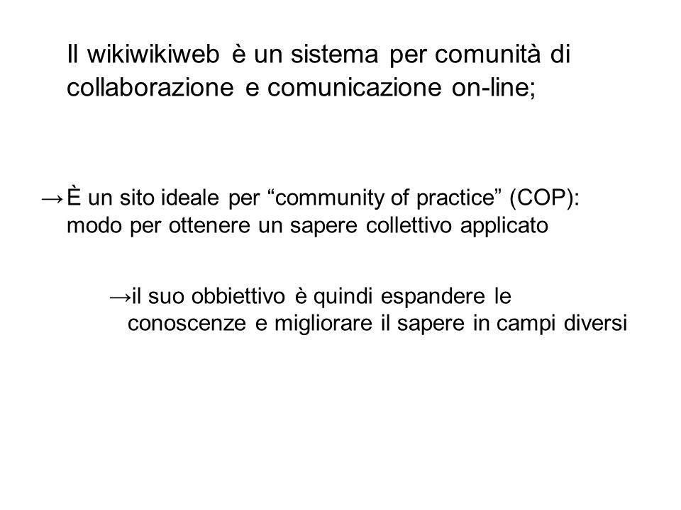 Il wikiwikiweb è un sistema per comunità di collaborazione e comunicazione on-line;