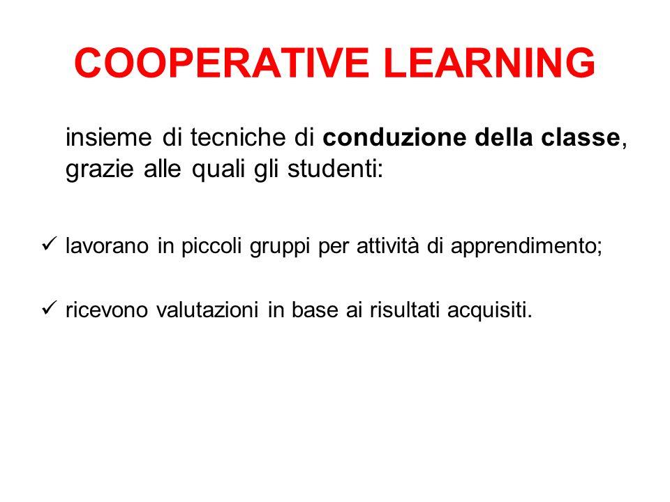 COOPERATIVE LEARNINGinsieme di tecniche di conduzione della classe, grazie alle quali gli studenti: