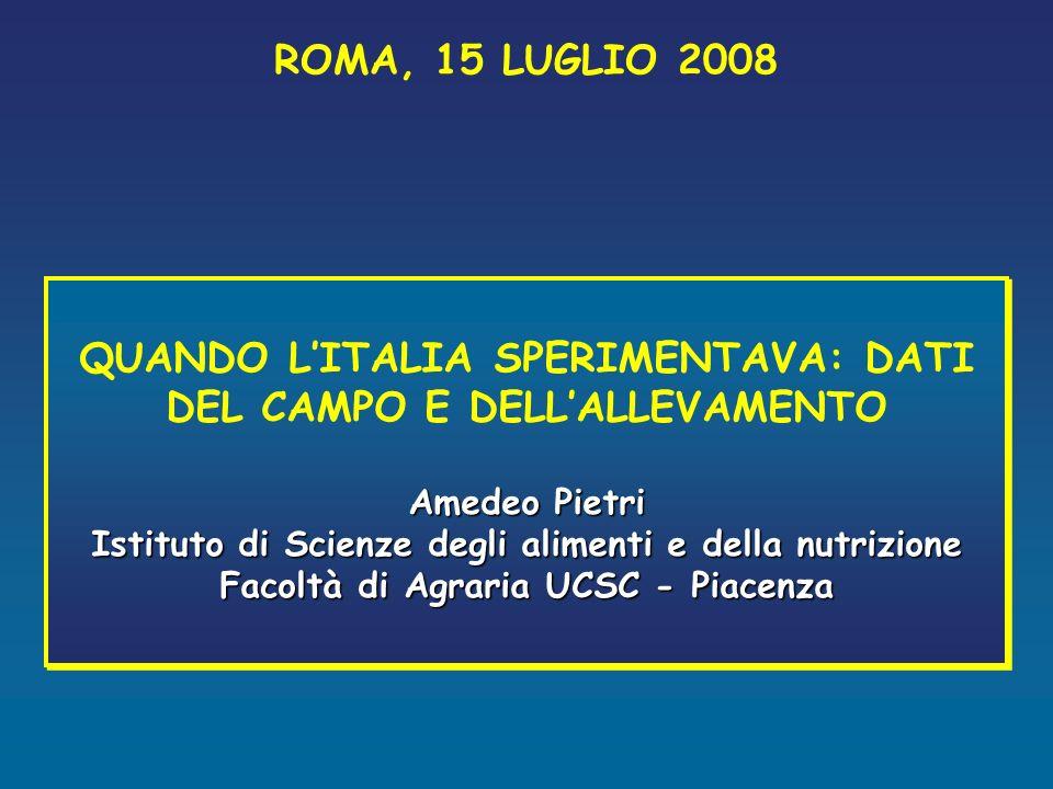 QUANDO L'ITALIA SPERIMENTAVA: DATI DEL CAMPO E DELL'ALLEVAMENTO