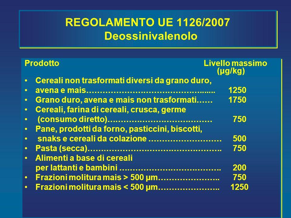 REGOLAMENTO UE 1126/2007 Deossinivalenolo