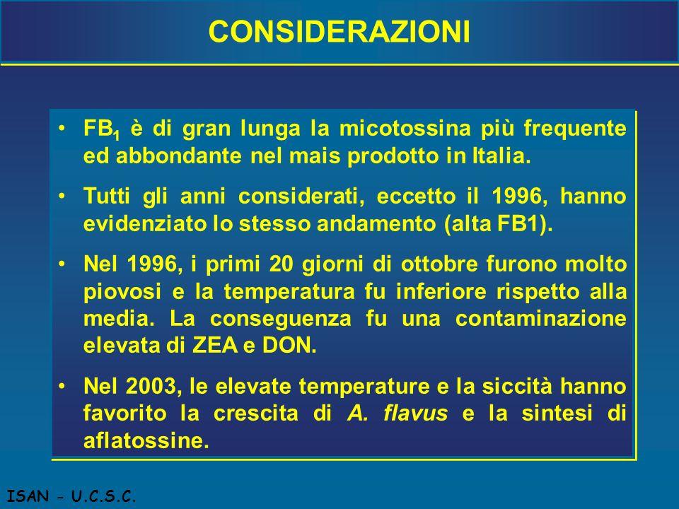 CONSIDERAZIONI FB1 è di gran lunga la micotossina più frequente ed abbondante nel mais prodotto in Italia.