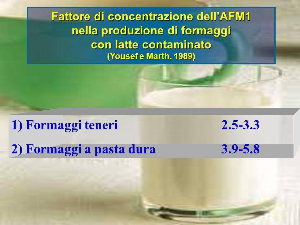 Fattore di concentrazione dell'AFM1 nella produzione di formaggi
