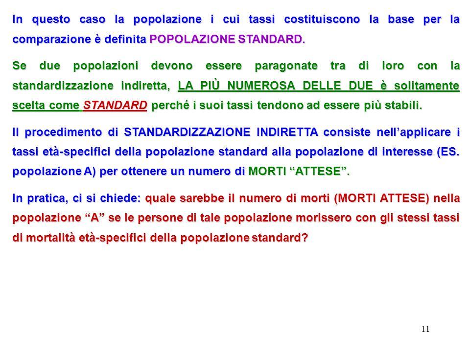 In questo caso la popolazione i cui tassi costituiscono la base per la comparazione è definita POPOLAZIONE STANDARD.