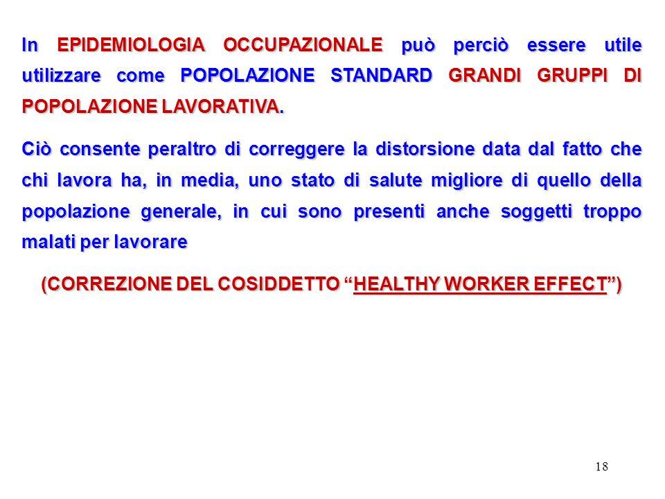 (CORREZIONE DEL COSIDDETTO HEALTHY WORKER EFFECT )