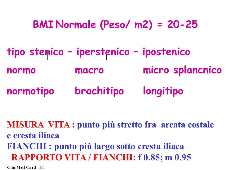BMI Normale (Peso/ m2) = 20-25