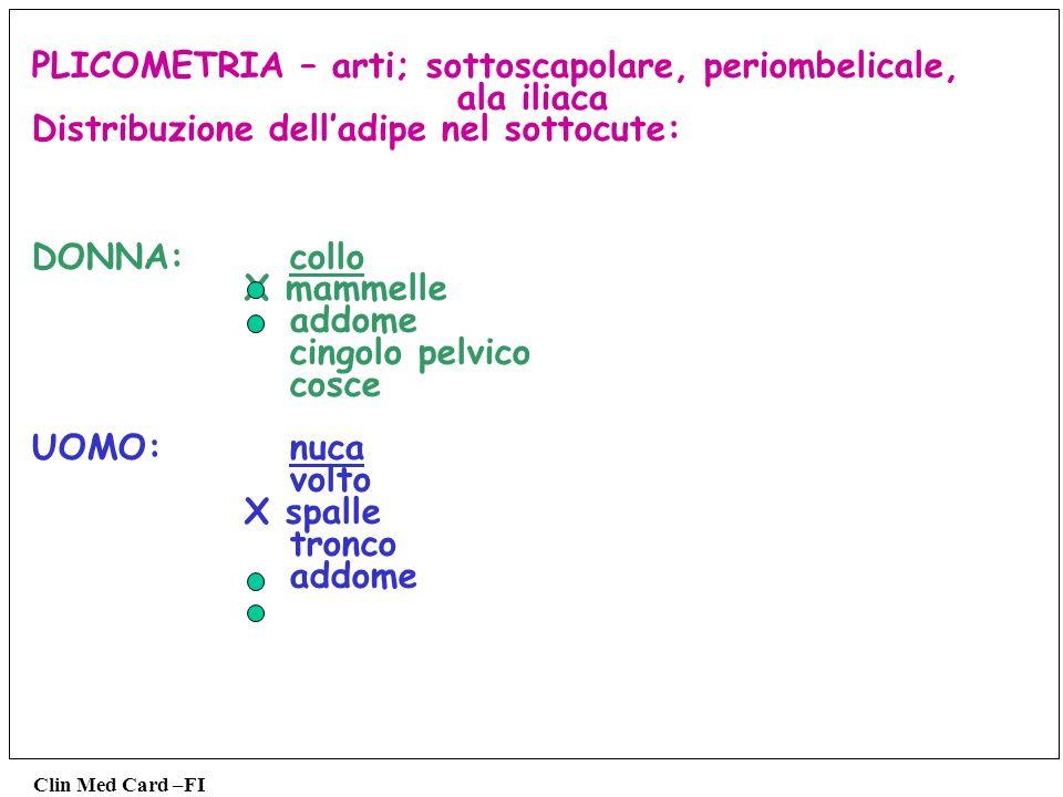 PLICOMETRIA – arti; sottoscapolare, periombelicale, ala iliaca