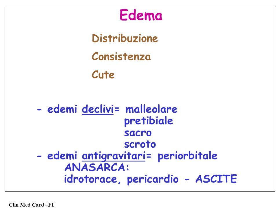 Edema Distribuzione Consistenza Cute - edemi declivi= malleolare