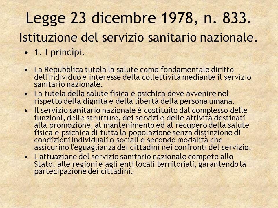 Legge 23 dicembre 1978, n. 833. Istituzione del servizio sanitario nazionale.