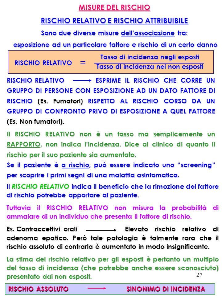 MISURE DEL RISCHIO RISCHIO RELATIVO E RISCHIO ATTRIBUIBILE
