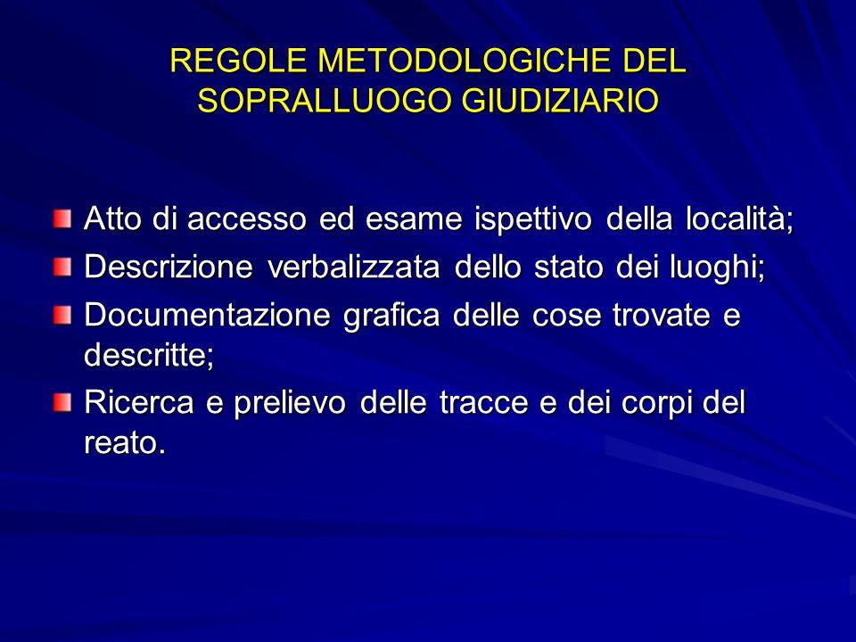 REGOLE METODOLOGICHE DEL SOPRALLUOGO GIUDIZIARIO