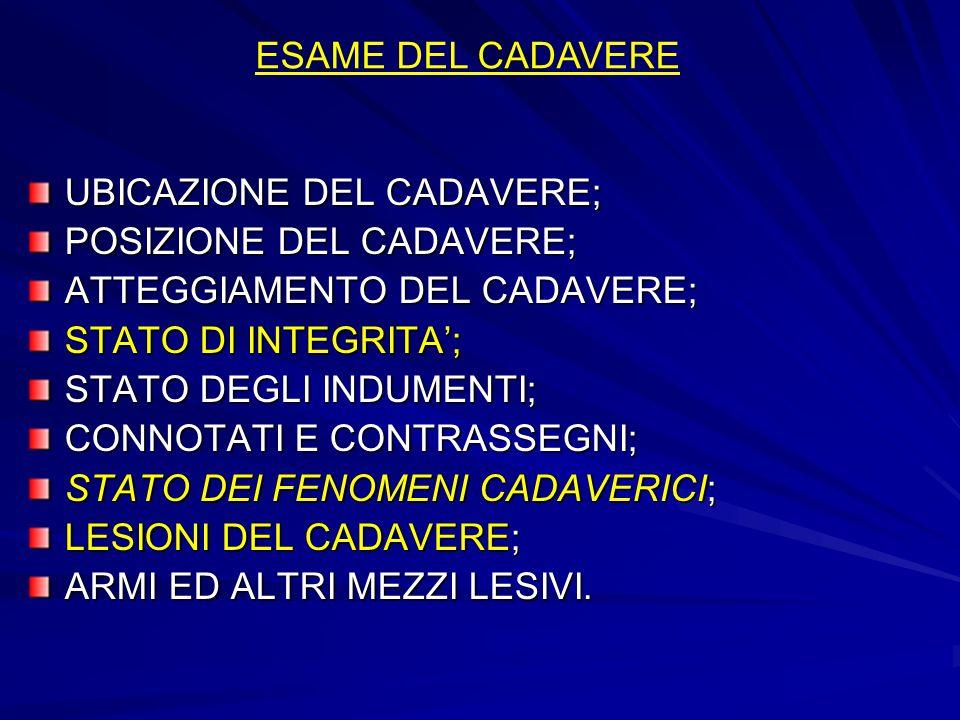 ESAME DEL CADAVEREUBICAZIONE DEL CADAVERE; POSIZIONE DEL CADAVERE; ATTEGGIAMENTO DEL CADAVERE; STATO DI INTEGRITA';